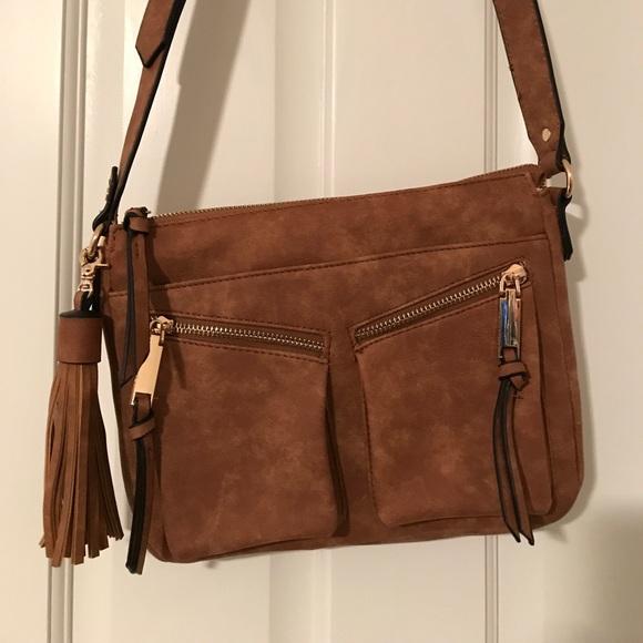 e9ab389e4d87 Francesca s Collections Handbags - Violet Ray Brown Crossbody Purse